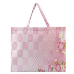 Sakura Flower Floral Pink Star Plaid Wave Chevron Zipper Large Tote Bag