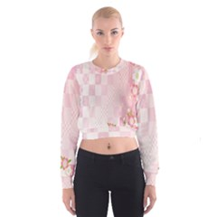 Sakura Flower Floral Pink Star Plaid Wave Chevron Cropped Sweatshirt