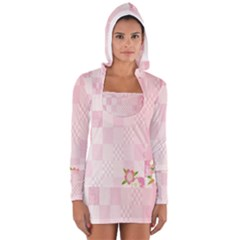 Sakura Flower Floral Pink Star Plaid Wave Chevron Women s Long Sleeve Hooded T-shirt