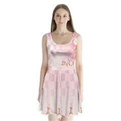 Sakura Flower Floral Pink Star Plaid Wave Chevron Split Back Mini Dress