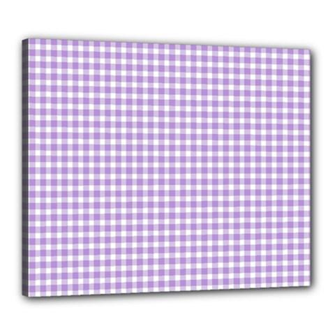 Plaid Purple White Line Canvas 24  x 20