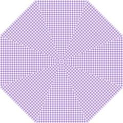 Plaid Purple White Line Hook Handle Umbrellas (Medium)