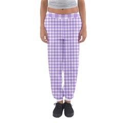 Plaid Purple White Line Women s Jogger Sweatpants