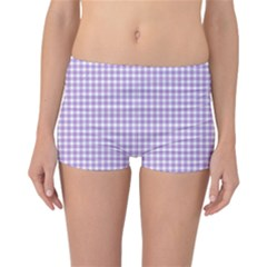 Plaid Purple White Line Reversible Bikini Bottoms