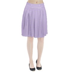 Plaid Purple White Line Pleated Skirt