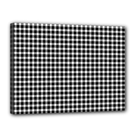 Plaid Black White Line Canvas 16  x 12