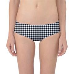 Plaid Black White Line Classic Bikini Bottoms