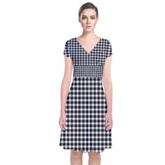Plaid Black White Line Short Sleeve Front Wrap Dress