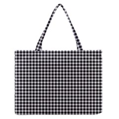 Plaid Black White Line Medium Zipper Tote Bag
