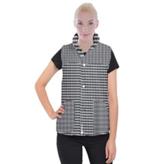 Plaid Black White Line Women s Button Up Puffer Vest