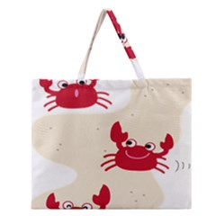 Sand Animals Red Crab Zipper Large Tote Bag