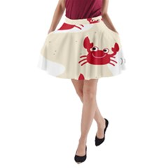Sand Animals Red Crab A-Line Pocket Skirt