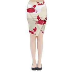 Sand Animals Red Crab Midi Wrap Pencil Skirt