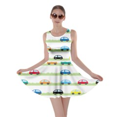 Small Car Red Yellow Blue Orange Black Kids Skater Dress