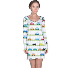 Small Car Red Yellow Blue Orange Black Kids Long Sleeve Nightdress