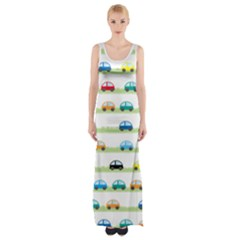 Small Car Red Yellow Blue Orange Black Kids Maxi Thigh Split Dress