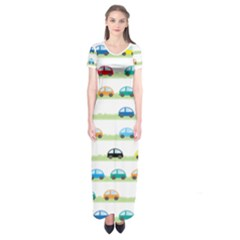 Small Car Red Yellow Blue Orange Black Kids Short Sleeve Maxi Dress