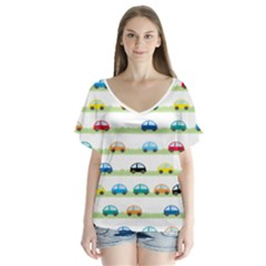 Small Car Red Yellow Blue Orange Black Kids Flutter Sleeve Top