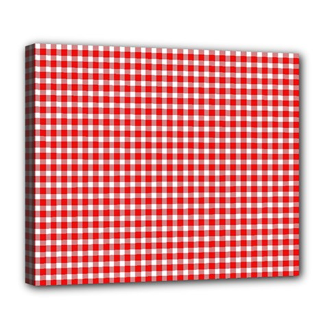 Plaid Red White Line Deluxe Canvas 24  x 20