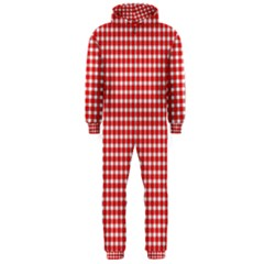 Plaid Red White Line Hooded Jumpsuit (Men)