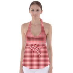 Plaid Red White Line Babydoll Tankini Top