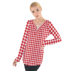 Plaid Red White Line Women s Tie Up Tee