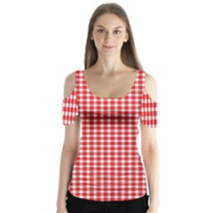 Plaid Red White Line Butterfly Sleeve Cutout Tee