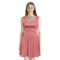 Plaid Red White Line Split Back Mini Dress