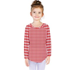Plaid Red White Line Kids  Long Sleeve Tee