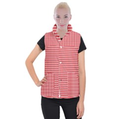 Plaid Red White Line Women s Button Up Puffer Vest