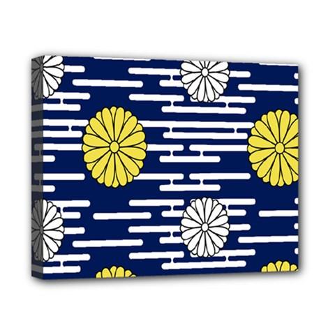 Sunflower Line Blue Yellpw Canvas 10  x 8