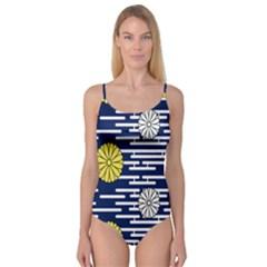 Sunflower Line Blue Yellpw Camisole Leotard