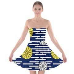 Sunflower Line Blue Yellpw Strapless Bra Top Dress