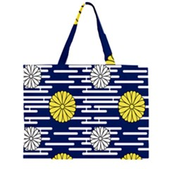Sunflower Line Blue Yellpw Large Tote Bag