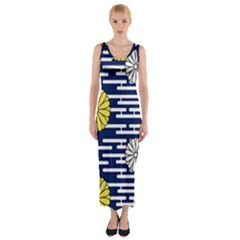 Sunflower Line Blue Yellpw Fitted Maxi Dress