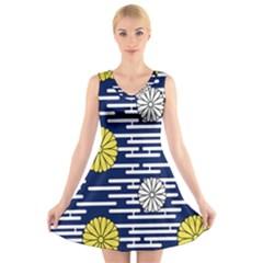 Sunflower Line Blue Yellpw V-Neck Sleeveless Skater Dress