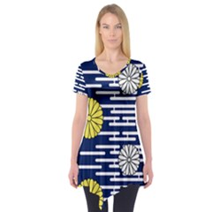 Sunflower Line Blue Yellpw Short Sleeve Tunic