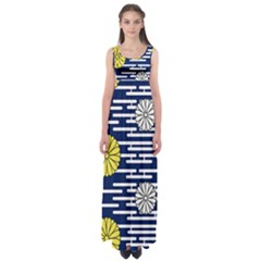 Sunflower Line Blue Yellpw Empire Waist Maxi Dress