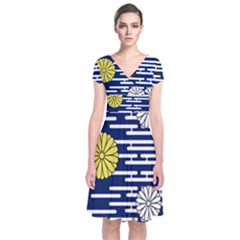 Sunflower Line Blue Yellpw Short Sleeve Front Wrap Dress