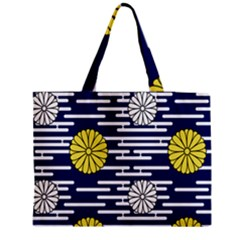 Sunflower Line Blue Yellpw Medium Tote Bag