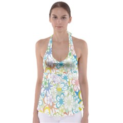 Star Flower Rainbow Sunflower Sakura Babydoll Tankini Top
