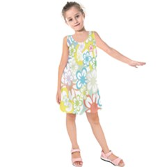 Star Flower Rainbow Sunflower Sakura Kids  Sleeveless Dress