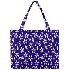 Star Flower Blue White Mini Tote Bag