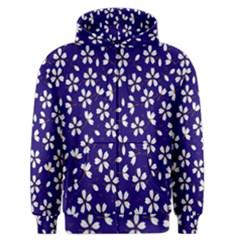 Star Flower Blue White Men s Zipper Hoodie
