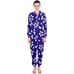Star Flower Blue White Hooded Jumpsuit (Ladies)