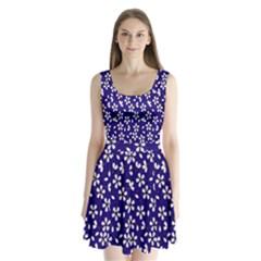 Star Flower Blue White Split Back Mini Dress