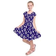 Star Flower Blue White Kids  Short Sleeve Dress