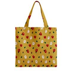 Tulip Sunflower Sakura Flower Floral Red White Leaf Green Zipper Grocery Tote Bag