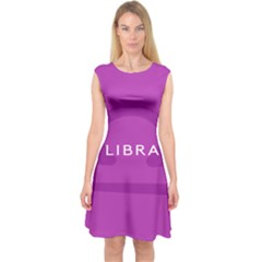 Zodizc Libra Purple Capsleeve Midi Dress