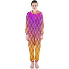 Triangle Plaid Chevron Wave Pink Purple Yellow Rainbow Hooded Jumpsuit (Ladies)
